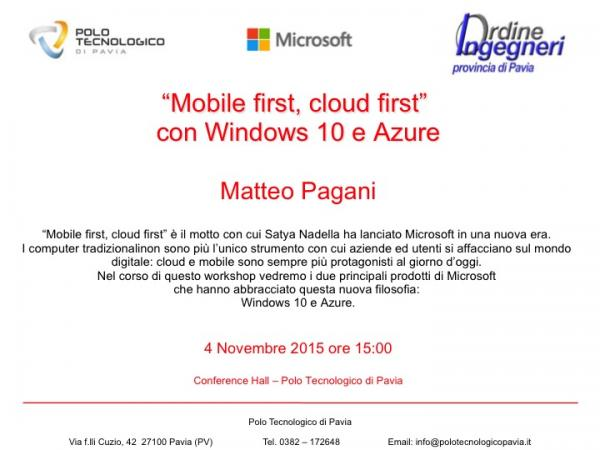 """Mobile first, cloud first"" con Windows 10 e Azure"